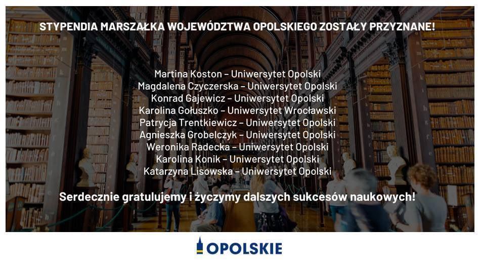 Patrycja Trentkiewicz oraz Konrad Gajewicz stypendystami Marszałka Województwa Opolskiego