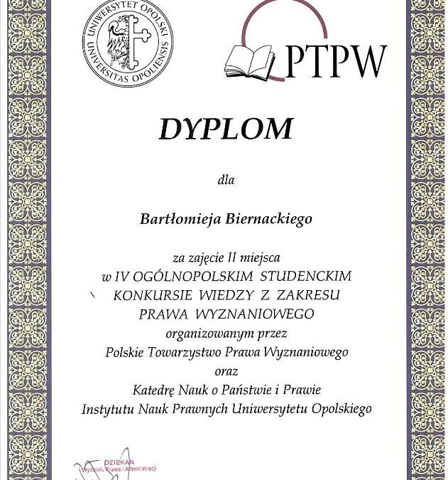 Sukces goni sukces! Nasi studenci w czołówce IV Ogólnopolskiego studenckiego konkursu wiedzy z zakresu prawa wyznaniowego